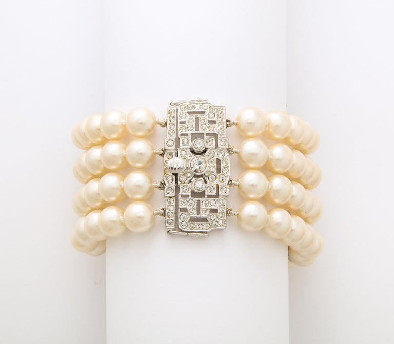 Women's On Sale!! Art Deco Style Faux Diamond Sterling Japanese Glass Pearl Bracelet For Sale