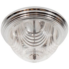 Art Deco Style Flush Mount Chandelier with Chrome Fittings