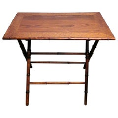 Art Deco Style Folding French Table in Walnut, Walnut Briar and Faux Bamboo