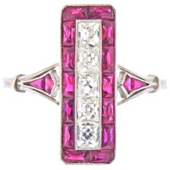 Art Deco Style French Cut Ruby Platinum Ring