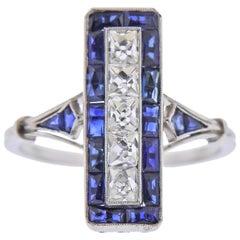 Art Deco Style French Cut Sapphire Diamond Platinum Ring