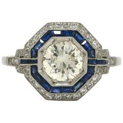 Art Deco Style Geometric Diamond Blue Sapphire Gem Halo Platinum Statement Ring