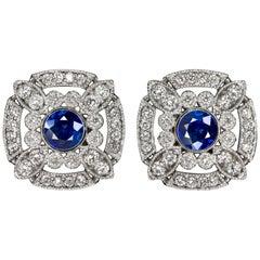 Art Deco Style Geometric Double Halo Blue Sapphire Diamond Earrings