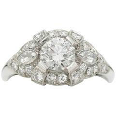 Art Deco Style GIA 1.27 Carat Diamond Platinum Ring