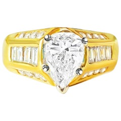 Art Deco Style GIA Certified 2.00 Carat Diamond Engagement Ring in 18 Karat Gold