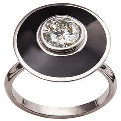 18K White Gold GIA Certified 1 Carat Diamond Black Enamel Art Deco Style Ring