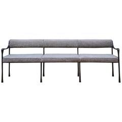 Art Deco Style Giac Settee 8' w/ Blackened Aluminium Frame & Chenille Upholstery
