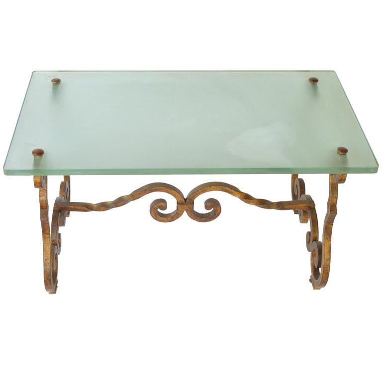 Art Deco Style Gilt Bronze Coffee Table With Glass Desktop