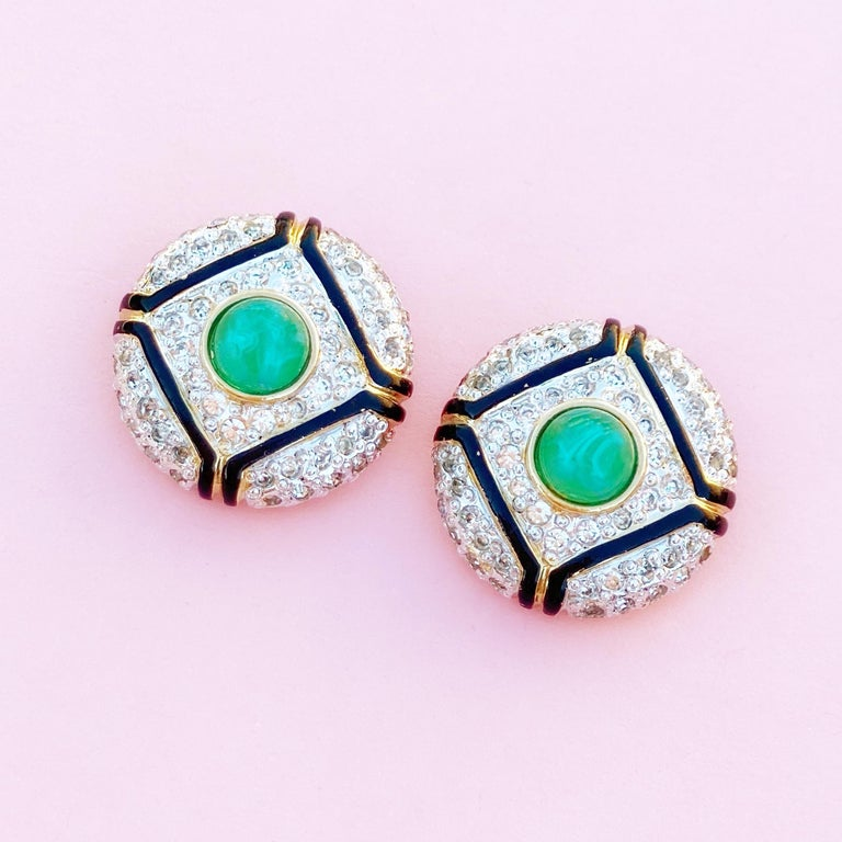 Modern Art Deco Style Gilt, Green Glass & Crystal Pavé Earrings By Vogue Bijoux, 1980s For Sale