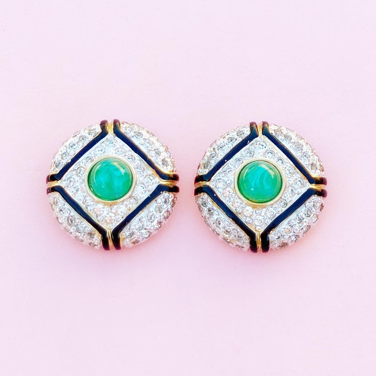Art Deco Style Gilt, Green Glass & Crystal Pavé Earrings By Vogue Bijoux, 1980s In Excellent Condition For Sale In Los Angeles, CA