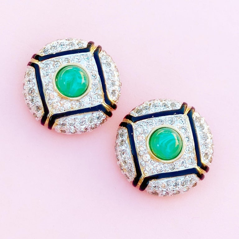 Women's Art Deco Style Gilt, Green Glass & Crystal Pavé Earrings By Vogue Bijoux, 1980s For Sale