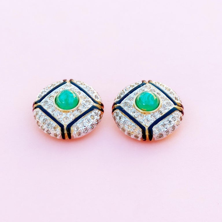 Art Deco Style Gilt, Green Glass & Crystal Pavé Earrings By Vogue Bijoux, 1980s For Sale 1