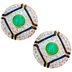 Art Deco Style Gilt, Green Glass & Crystal Pavé Earrings By Vogue Bijoux, 1980s