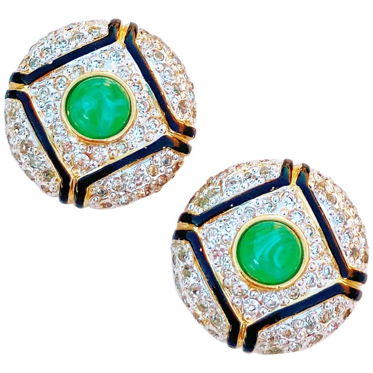 Art Deco Style Gilt, Green Glass & Crystal Pavé Earrings By Vogue Bijoux, 1980s For Sale