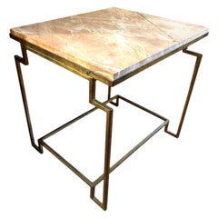 Art Deco Style Gilt Metal and Fossilized Limestone Side Table