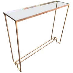 Art Deco Style Gilt Metal and Glass Console Table