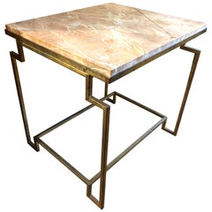 Art Deco Style Gilt Metal Fossilized Limestone Side Table