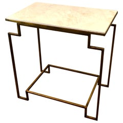 Art Deco Style Gilt Metal Tan Marble End Table
