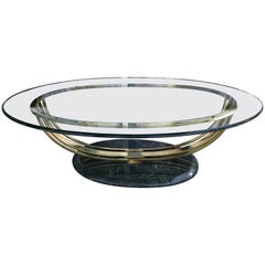 Art Deco Style Glass and Brass Coffee Table