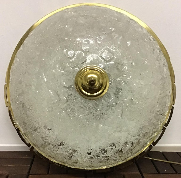 Art Deco Style Glass and Brass Flush Mount, Germany, circa 1960s In Excellent Condition For Sale In Wiesbaden, Hessen