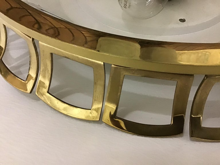 Mid-20th Century Art Deco Style Glass and Brass Flush Mount, Germany, circa 1960s For Sale