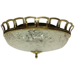 Art Deco Style Glass and Brass Flush Mount, Germany, circa 1960s