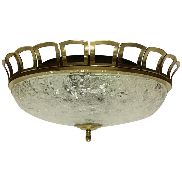 Art Deco Style Glass and Brass Flush Mount, Germany, circa 1960s For Sale
