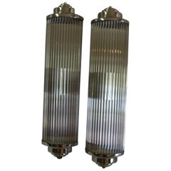Art Deco Style Glass Rod Sconces, Hi-Polished Nickel, Double Socket