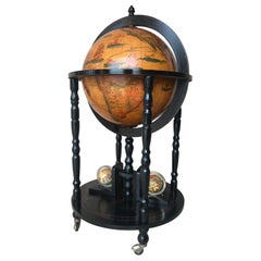 Art Deco Style Globe Cocktail Black Ebonized Cabinet Dry Bar