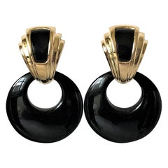 Art Deco Style Gold and Onyx Hanging Earrings