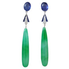 Art Deco Style Gold Blue Sapphire Diamonds Enamel Engraved Jade Drops Earrings