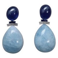 Art Deco Style Gold Diamonds Blue Sapphire Enamel Aquamarine Drops Earrings