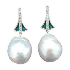 Art Deco Style Gold Diamonds Green Enamel Pear Shape Baroque Pearls Earrings