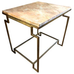 Art Deco Style Gold Gilt Metal Fossilized Limestone Side Table