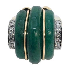 Art Deco Style Gold, Green Aventurine and Diamond Ring