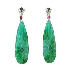 Art Deco Style Gold Rubies Emeralds Diamonds Black Enamel Jade Dangle Earrings