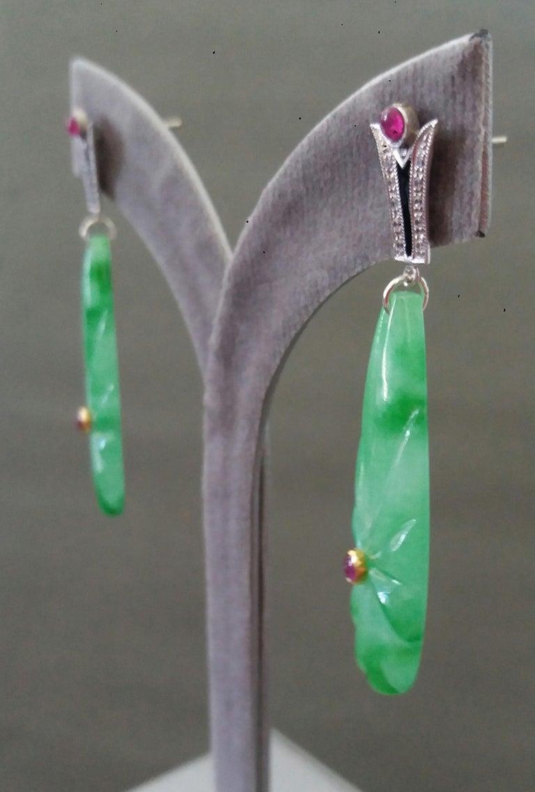 Art Deco Style Gold Rubies Emeralds Onyx Diamonds Enamel Jade Dangle Earrings For Sale 5