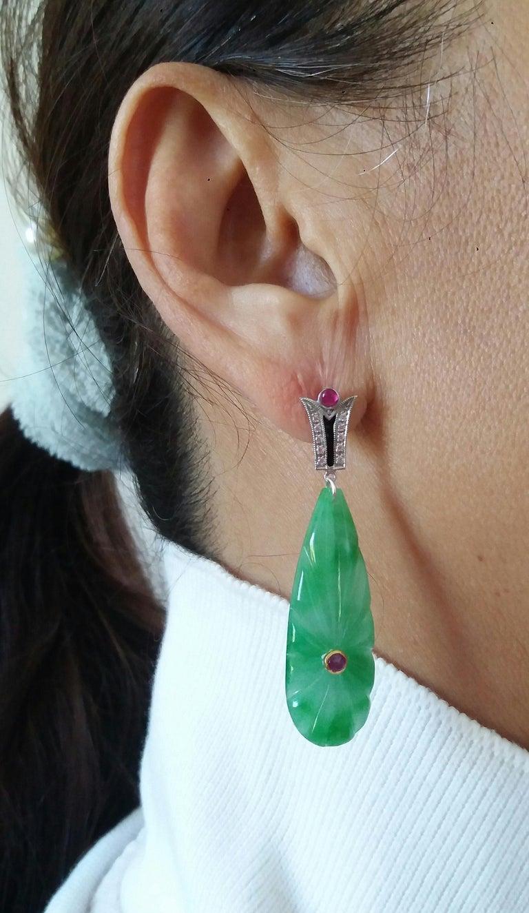 Art Deco Style Gold Rubies Emeralds Onyx Diamonds Enamel Jade Dangle Earrings For Sale 6
