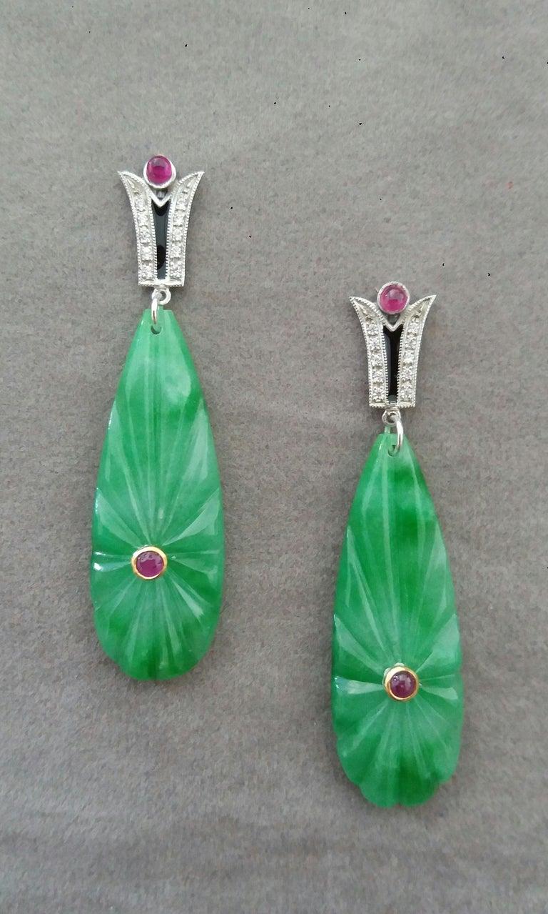 Mixed Cut Art Deco Style Gold Rubies Emeralds Onyx Diamonds Enamel Jade Dangle Earrings For Sale