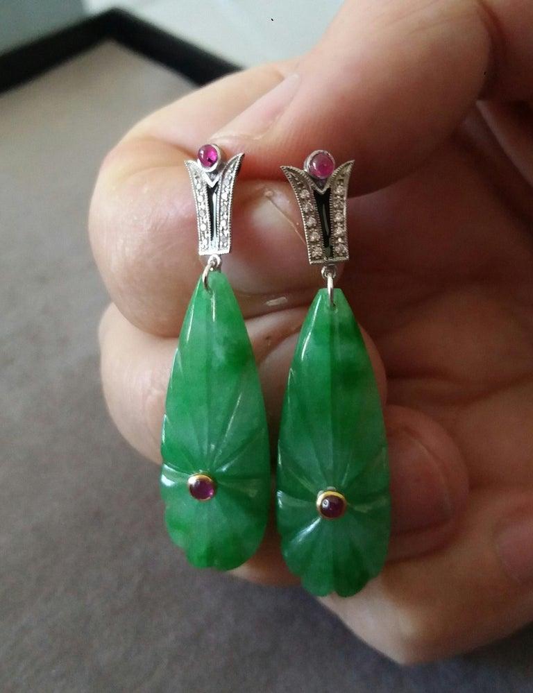 Art Deco Style Gold Rubies Emeralds Onyx Diamonds Enamel Jade Dangle Earrings For Sale 1