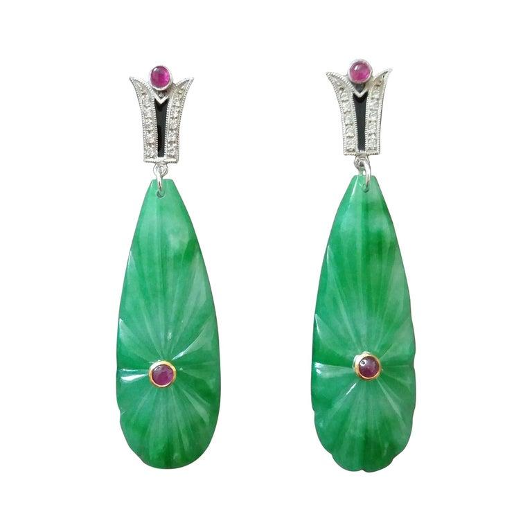 Art Deco Style Gold Rubies Emeralds Onyx Diamonds Enamel Jade Dangle Earrings For Sale