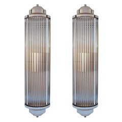 Art Deco Style Grand Theater Glass Rod Wall Sconces, Pair