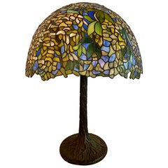 Art Deco Style Green Floral Tiffany Form Table Lamp on Bronze Base