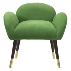 Art Deco Style Green Linen with Brass Sabots Dining Chair Patagonia