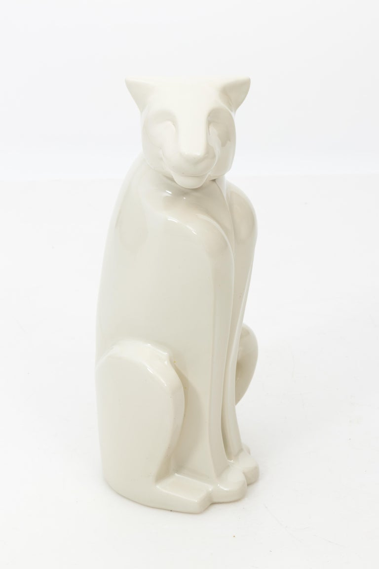North American Art Deco Style Haeger Ceramic Panther Sculpture For Sale