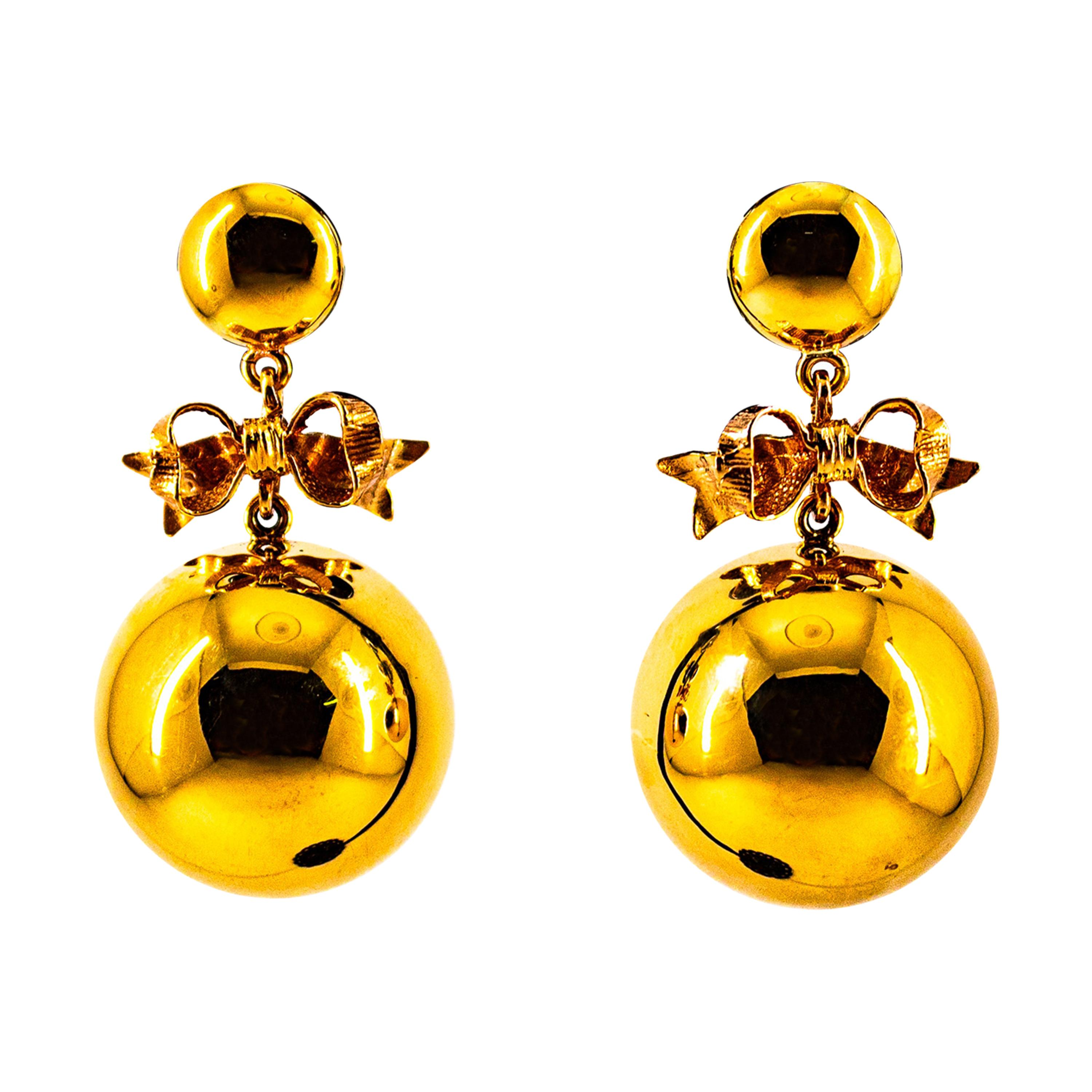 Art Deco Style Handcrafted Yellow Gold Dangle Stud Earrings