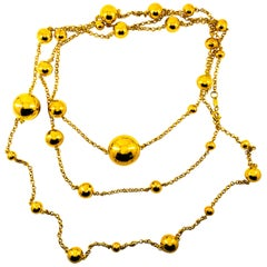 Art Deco Style Handcrafted Yellow Gold Drop Necklace