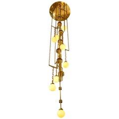Art Deco Style Handmade Cascade Full Brass and Glass Light Fixture, Contemporary