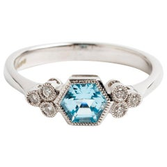Art Deco Style Hexagon Blue Topaz Ring, Total .09 Carat, Hallmarked London