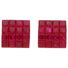 Art Deco Style Invisibly Set Princess Cut Ruby Earrings in 18 Karat White Gold